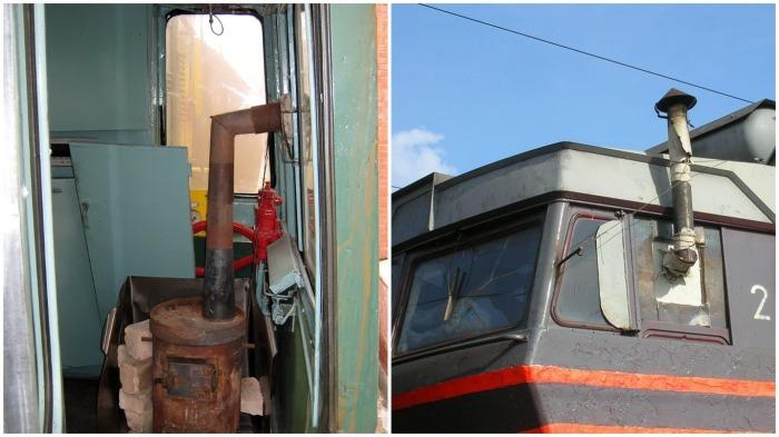 Чтобы не замерзнуть во время перегона локомотива, в кабине временно устанавливается буржуйка / Фото: zhlk.ru