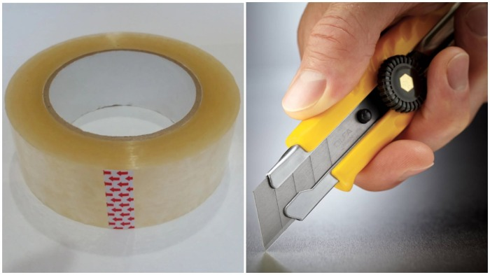 Для самостоятельного удаления вмятины понадобятся скотч и канцелярский нож / Фото: aktobeobl.satu.kz