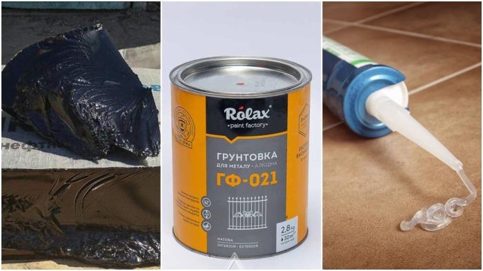 Для водостойкой краски понадобятся битум, силиконовый герметик, грунтовка и бензин / Фото: tver.mirstroek.ru