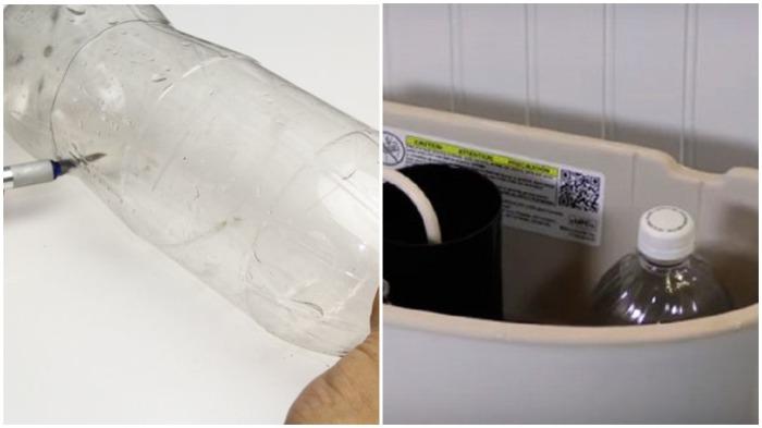 Наполненная полученным средством пластиковая бутылка с небольшими отверстиями помещается в бачок унитаза / Фото: bukvarche.com