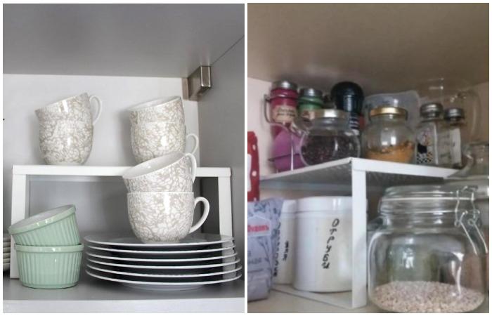 Вставка в полку создает дополнительное пространство для размещения посуды