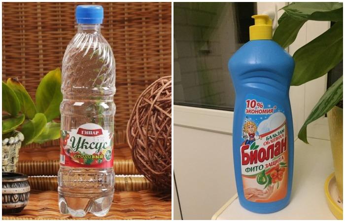 Уксус и жидкость для мытья посуды - действенные средства против коричневых пятен