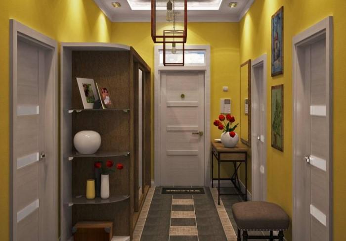 Яркие стены, закрытая мебель, цветы и декор станут стильными акцентами в прихожей