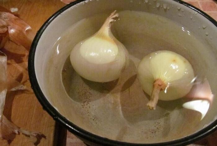 Чтобы избавить лук от горечи, не обдавайте его кипятком, а положите в холодную воду / Фото: i.mycdn.me