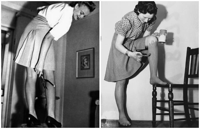 Девушки имитировали надетые чулки, рисуя стрелки на задней поверхности ног и окрашивая кожу