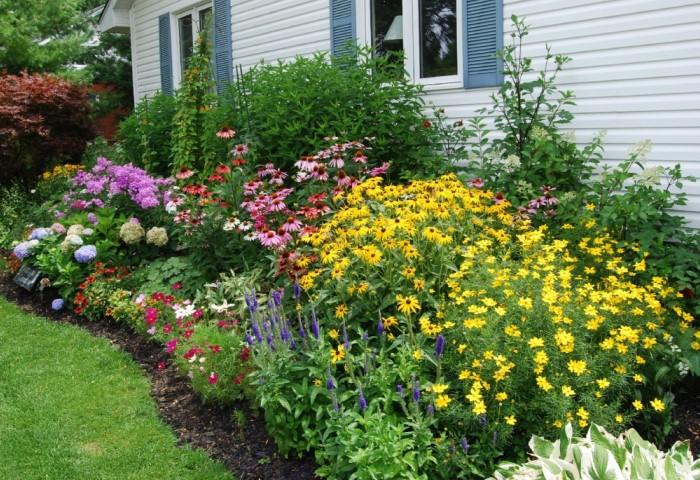 Отличный вариант - разбить цветники из многолетников, за которыми легко ухаживать