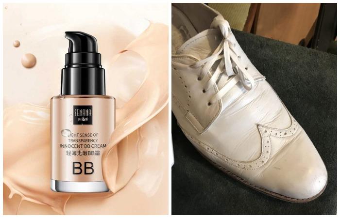 Подберите похожий по цвету тональный крем, чтобы отреставрировать светлую обувь