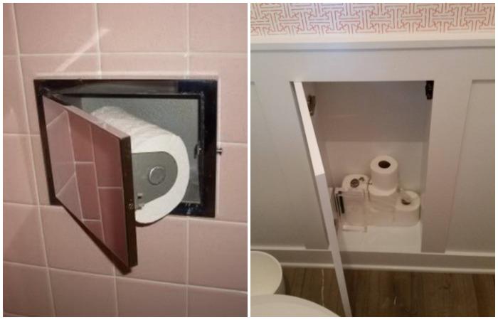 Сделайте небольшой встроенный шкафчик, куда отправятся запасы туалетной бумаги или гигиенические средства