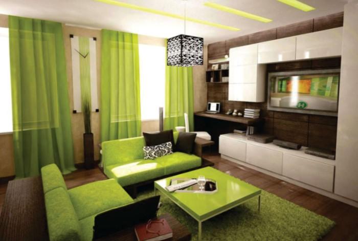 Если в гостиной стоит зеленый диван, это вовсе не значит, что цвет должен использоваться везде / Фото: status-mebel.poltava.ua