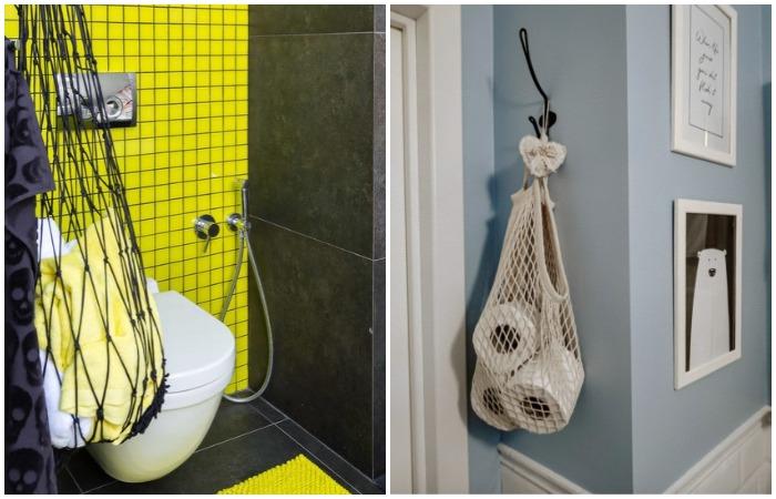 Повесьте авоську в ванной и складывайте в нее полотенца или другие предметы