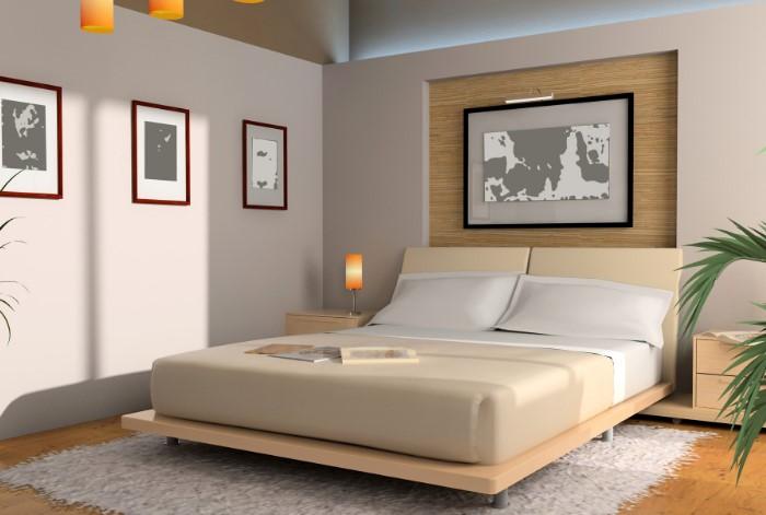 Светлая спальня с прямоугольной кроватью и изголовьем у стены - идеальный вариант по фэн-шую/ Фото: jekstrasens.ru