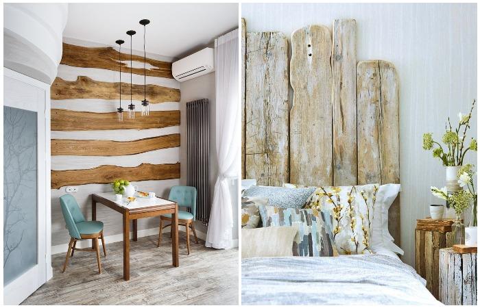 Необработанная древесина выглядит аутентично и добавляет изюминку в интерьер