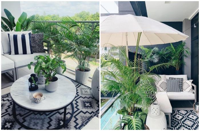 Поскольку климат там довольно влажный и жаркий, сингапурцы выносят на балконы пляжные зонтики