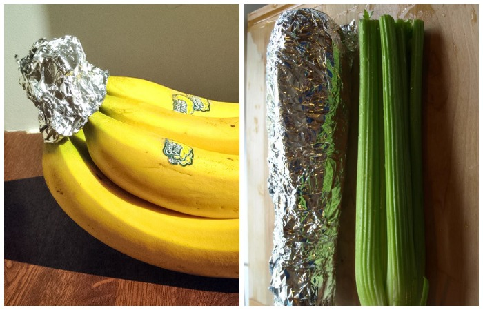 Бананы и сельдерей, завернутые в фольгу, хранятся намного дольше