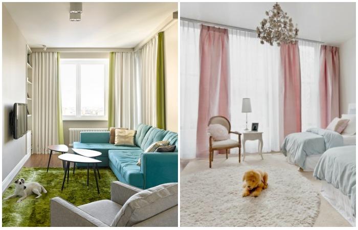 Вместо одной шторы вешайте две или разбейте окно вертикальными полотнами
