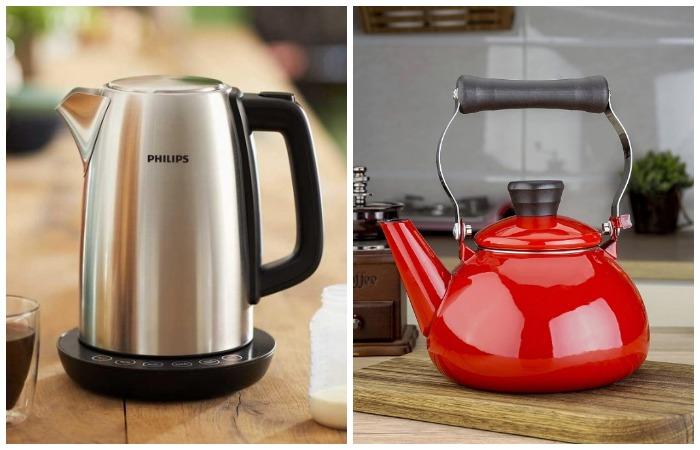 Металлический и эмалированный чайники - наиболее оптимальные варианты