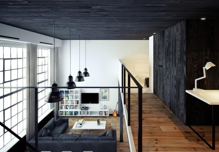 Черный цвет поможет хотя бы визуально сделать потолок ниже, чтобы пространство стало уютнее / Фото: sdelaipotolok.com