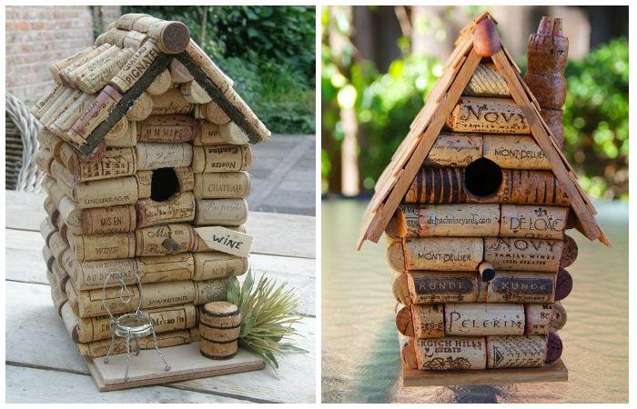 Винные пробки можно использовать и как строительный материал для птичьего домика