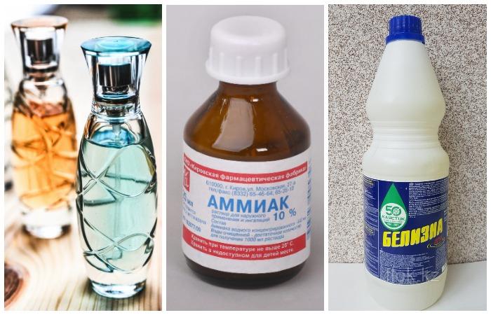 Не используйте для очистки духи, аммиак и хлорку