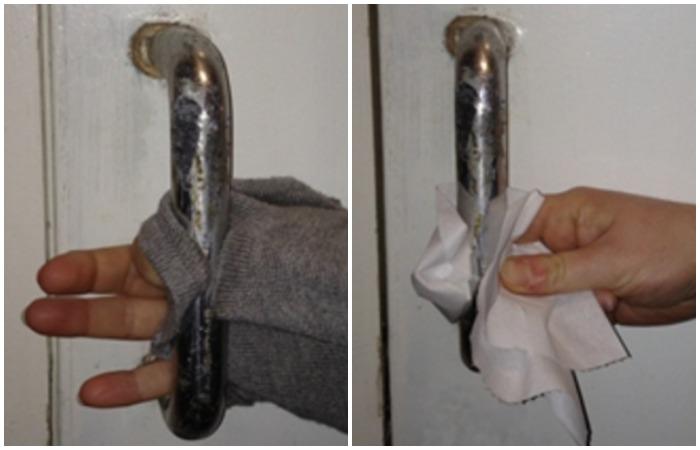 Вместо того, чтобы касаться ручки рукавом, используйте одноразовую салфетку
