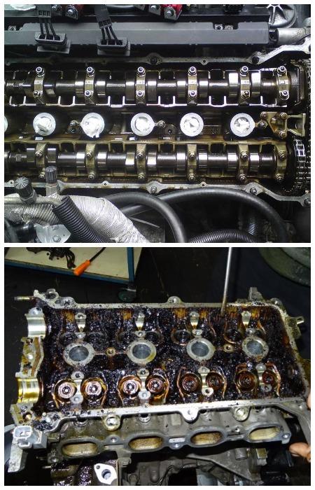 Чистый и закоксованный двигатель