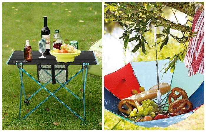 Есть за столом гораздо удобнее, а хранить продукты можно в подвешенном зонтике