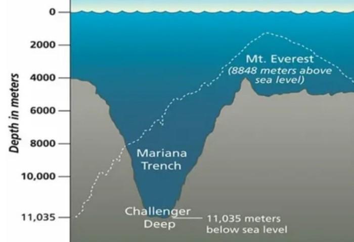Получается, что «Бездна Челленджера» находится дальше от морского уровня, чем пик Эвереста / Фото: cf2.ppt-online.org