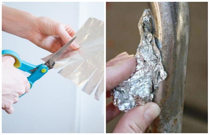 Нарезайте фольгу, чтобы заточить ножницы и обрабатывайте кран для счищения ржавчины