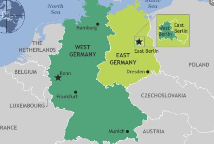 Берлинская стена стала границей ГДР и разделяла западную и восточную части столицы / Фото: pbs.twimg.com