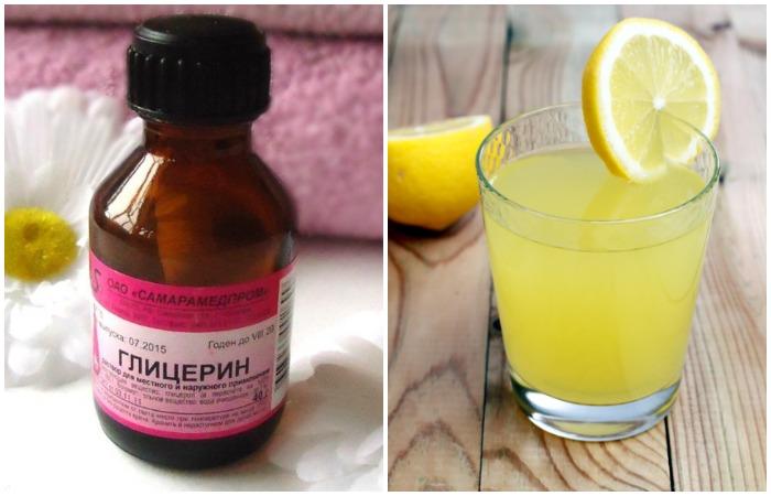 Глицерин и лимонный сок - эффективные средства против свежих и въевшихся пятен