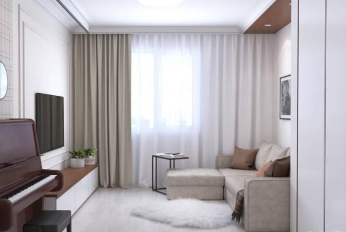 Избегайте тяжелых и темных штор, которые визуально делают пространство еще ниже / Фото: i.pinimg.com