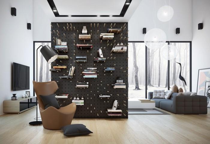 Из перфорированной доски получится отличная альтернатива книжному шкафу или стеллажу / Фото: arxip.com