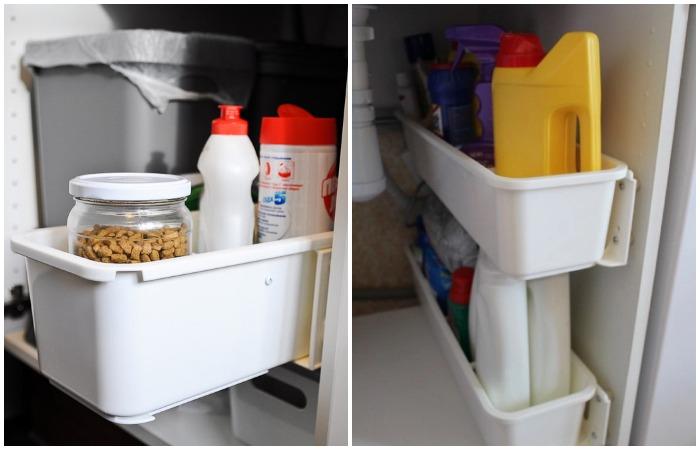 Выдвижные контейнеры удобно располагать под мойкой или на дверцах