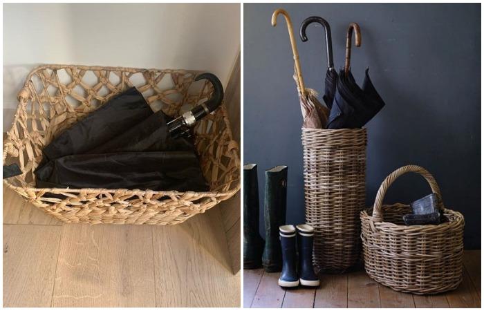 Плетеные корзины выглядят стильно, а вещи в них высыхают очень быстро