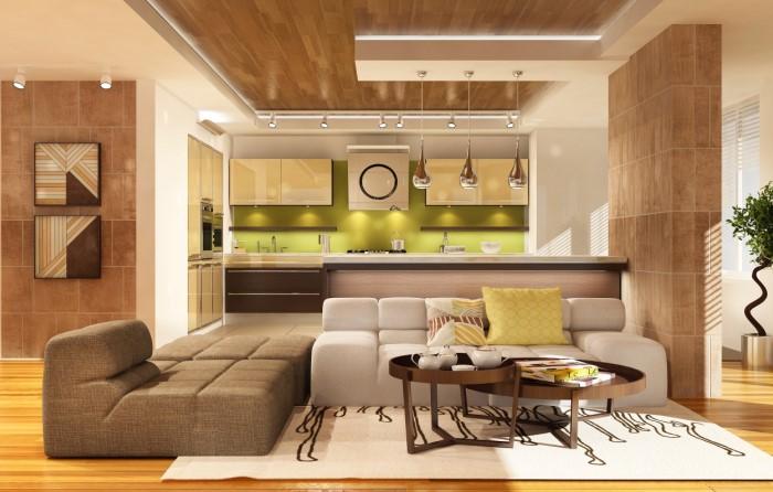 Если кухня большая, используйте мягкую мебель как вариант зонирования / Фото: mykaleidoscope.ru