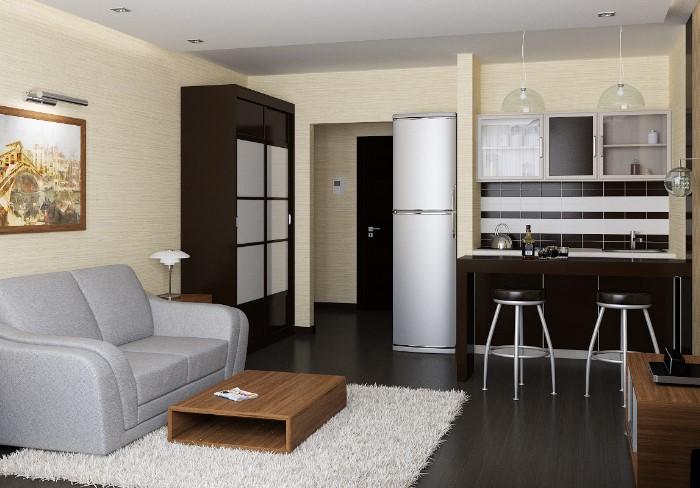 Такая идея могла бы подойти для квартиры-студии, однако может пострадать функциональность кухни / Фото: designadvice.ru
