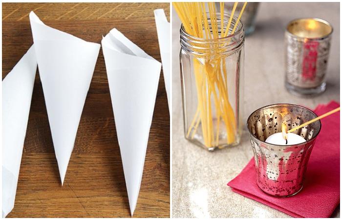 Даже банальная палочка спагетти или бумажная воронка могут упростить жизнь.
