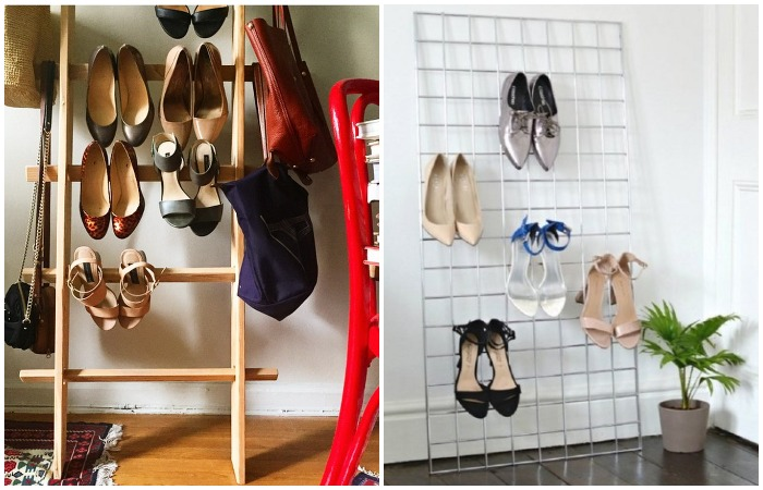 Если любите смелые эксперименты с интерьером, повесьте обувь на лестницу