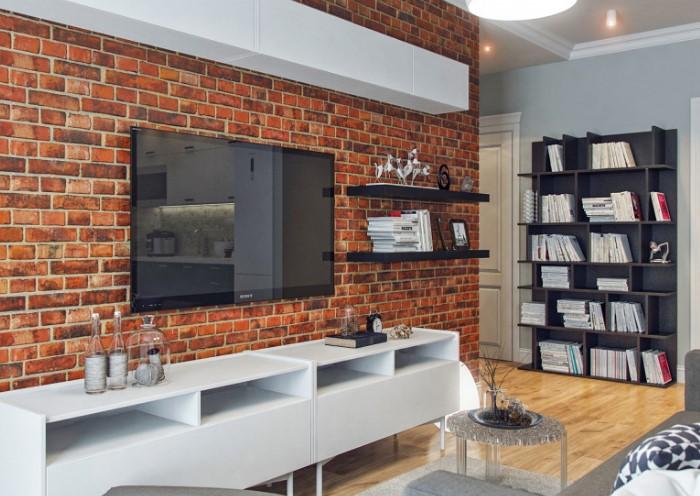 Кирпичный акцент выглядит стильно и современно, если отделать им одну стену / Фото: dizainexpert.ru