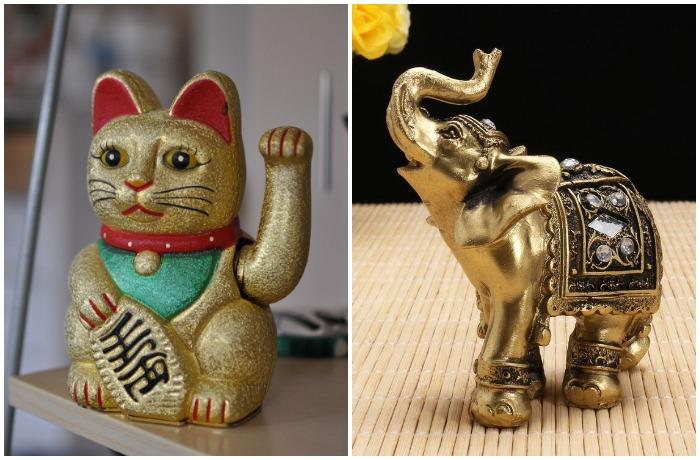 Японская кошка Манэки-нэко и слон с поднятым хоботом приносят в дом удачу и благополучие