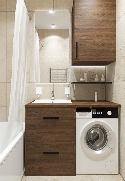 Вместо большого умывальника со шкафчиками, выберите маленький, сделайте столешницу из кафеля, а под нее поставьте технику / Фото: i.pinimg.com