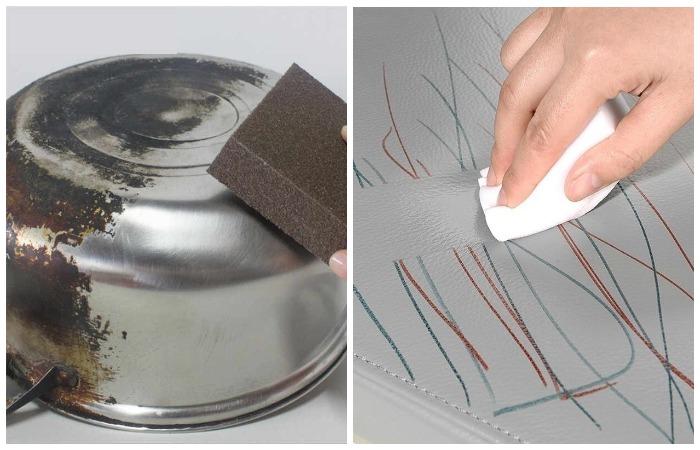 Меламиновая губка поможет оттереть различные загрязнения в считанные минуты