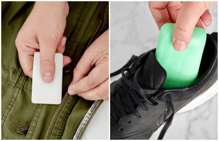 Мыло помогает нейтрализовать неприятные запахи и смазать металлические элементы