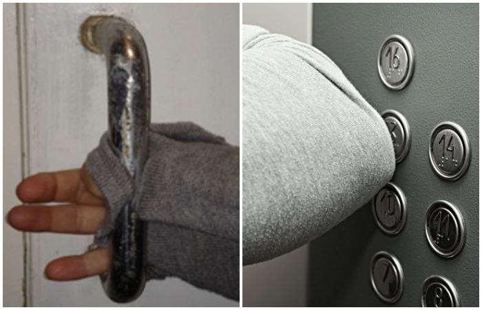 Браться за ручку рукавом или нажимать на кнопку лифта локтем - не лучшие идеи