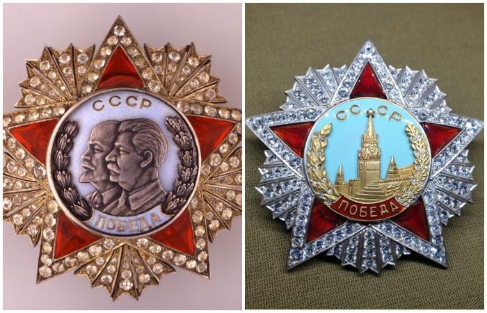 Первоначальную версию украшали барельефы В. И. Ленина и И. В. Сталина