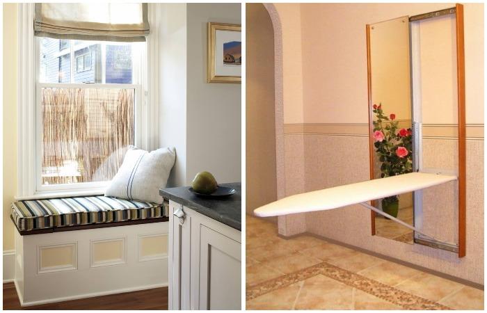 Диван на подоконнике и встроенная гладильная доска помогут сэкономить пространство в доме