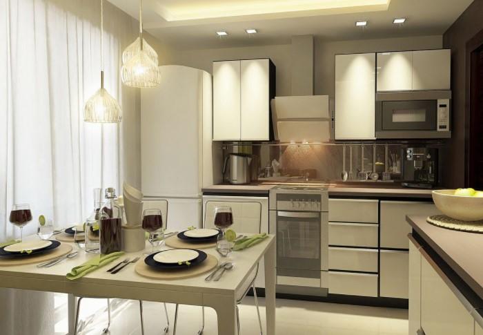 Ну кухне нужно сделать несколько световых зон: одну над рабочим местом, а вторую над обеденной зоной / Фото: bazazakonov.ru