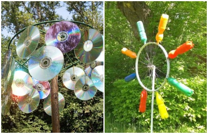 Пугалки можно смастерить самим, используя  компакт-диски, детские вертушки, бутылки, воздушные шарики, новогоднюю мишуру