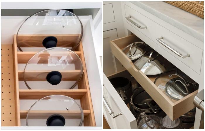 Если площадь кухни позволяет, сделайте в мебели отдельные ящики или поставьте разделители