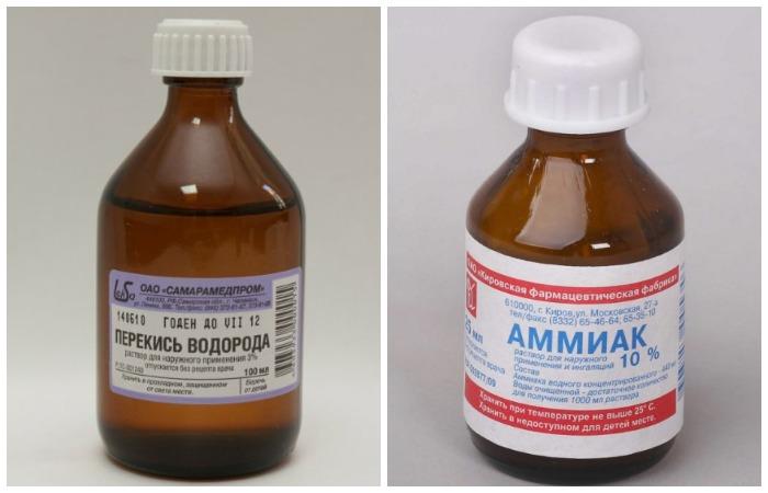 Раствор из перекиси и нашатыря эффективен для синтетических тканей